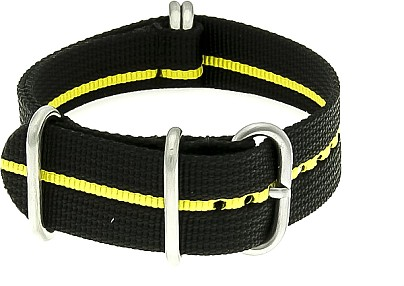 Zulu Watch Strap - Nylon Military - black-yellow stripe