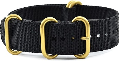 Zulu Watch Strap - Nylon Military - black