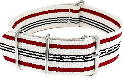 Nylon Watchband nylon military white-red-dark blue