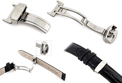 Kippfaltschließe Buckle for watch straps brushed silver