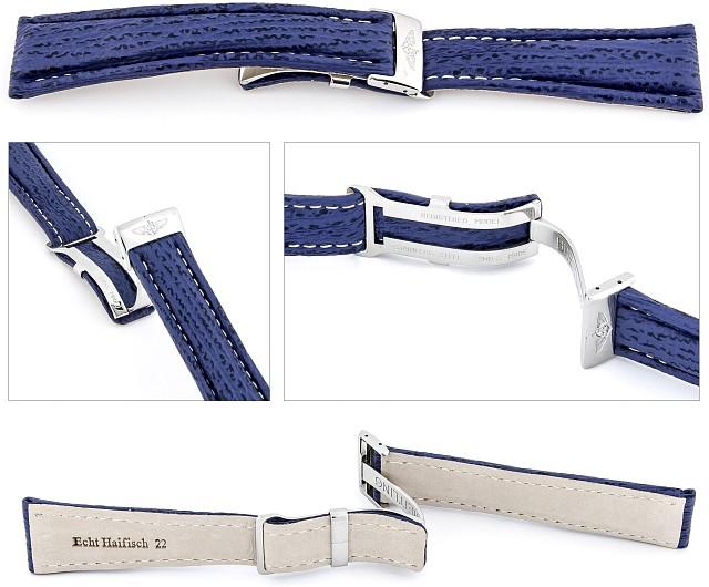 Handgearbeitetes Haifischleder-Uhrenarmband passend für Breitling Faltschließe