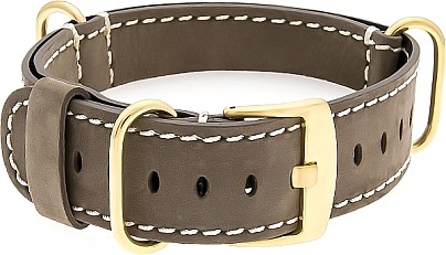 GOLD-NATO Watch Strap - Strap - Military - Real Leather - Gold Buckle  Brown/White