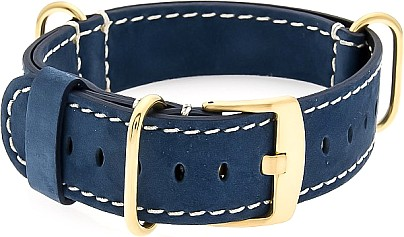 GOLD-NATO Watch Strap - Strap - Military - Real Leather - Gold Buckle  Blue/White
