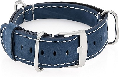 NATO Watch Strap - Strap - Military - Real Leather -   Blue/White