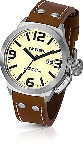 TW STEEL Canteen precision movement - mineral crystal - leather strap
