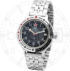 Vostok Automatic Tank Black with steel belt and nylon belt