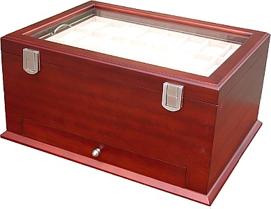 Watch wooden box for 54 watches with Glass