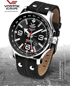 Vostok Europe Expedition Nordpol 1 Dual Time schwarz poliert
