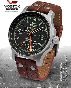 Vostok Europe Expedition Nordpol 1 Dual Time schwarz gebürstet