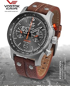 Vostok Europe Expedition Nordpol 1 Chronograph Titan Orange/weiße Ziffernblatt