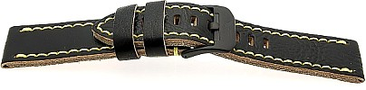Watch Band Vostok Europe  - Leder - schwarz with gelb stitching