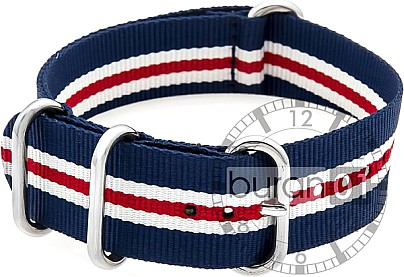 Zulu Watch Strap - Nylon Military - blue-white-red stripes