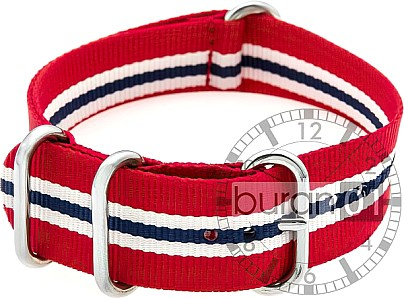 Zulu Watch Strap - Nylon Military - red, white and blue stripes