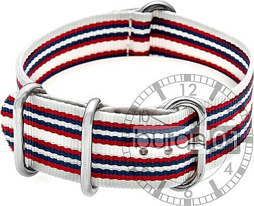 Zulu Watch Strap - Nylon Military - white-red-blue-white double stripe