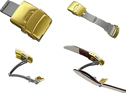 Stainless steel folding clasp for leather straps gold