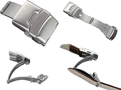 Stainless steel folding clasp for leather straps silver