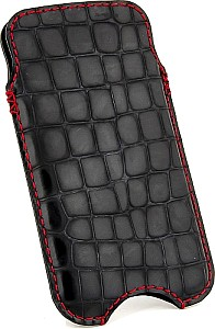 Croco Bag IPhone sleeve of genuine calfskin Balck Red seam in alligator grain suitable for iPhone 6plus 5.5 inches